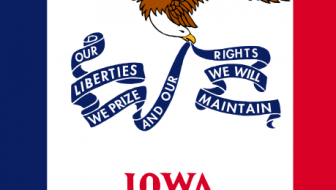 "Iowa state flag: ""Our Liberties We Prize and Our Rights We Will Maintain"""