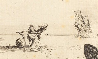 Jacques Callot (French, 1592 - 1635 ), Siren between Two Ships, 1628, etching, Rosenwald Collection