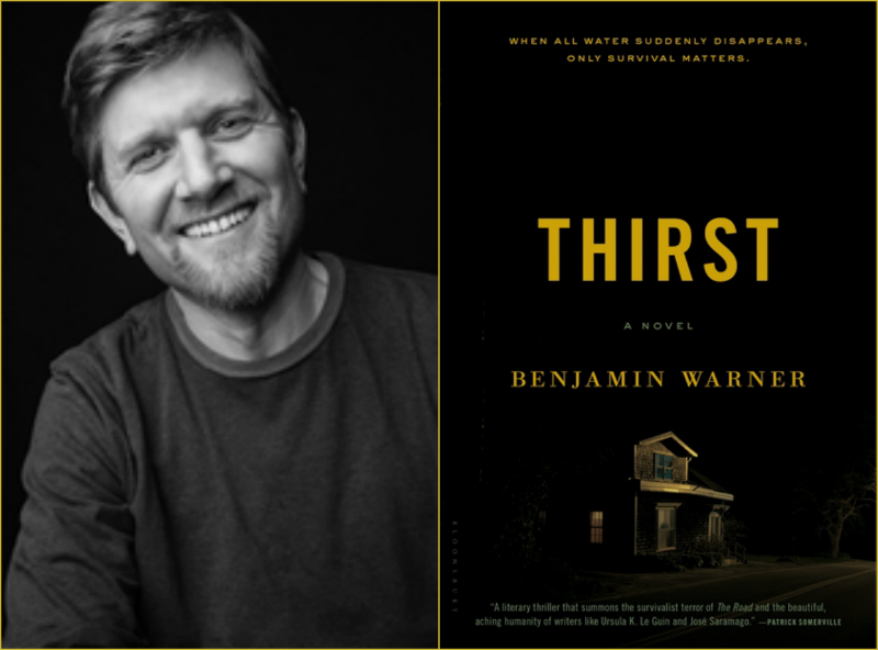 "Author Benjamin Warner and the book jacket for his first novel, ""Thirst."""