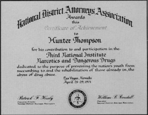 Hunter S. Thompson's certificate from the National District Attorneys Association